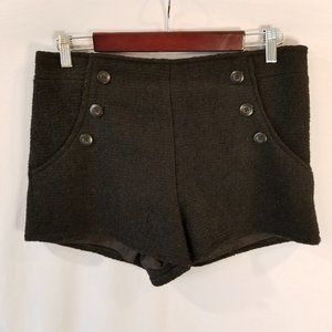 Retro Wool Shorts Button Detail & Satin Lining M/8